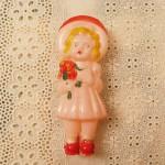 ミニチュア セルロイド人形 帽子の女の子*ヴィンテージ