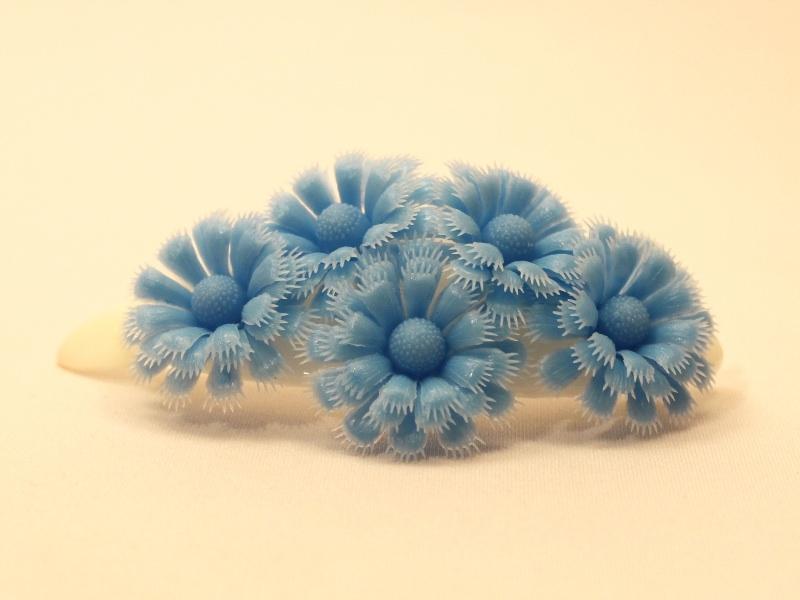 お花バレッタ ブルー*レトロプラスチック