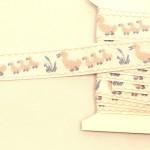 アヒルの親子 刺繍リボン ピンク フランスアンティーク