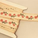 フランス アンティーク刺繍リボン 赤いバラ