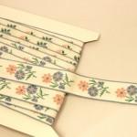 フランス アンティーク刺繍リボン お花 淡い色
