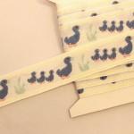 アヒルの親子 刺繍リボン ブルー フランスアンティーク