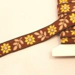 チェコ刺繍リボン 茶色 ブラウンのお花 アンティーク