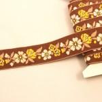 チェコ刺繍リボン ブラウン 白と黄色のお花 アンティーク