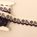 スカラップ刺繍リボン パープルのお花 チェコアンティーク
