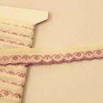 スカラップ刺繍リボン ラベンダー色の小花 チェコアンティーク