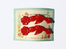 アンティーク お花のヘアピン2本セット レッド