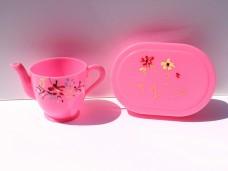 ピンクのお弁当箱とポットのおままごとセット