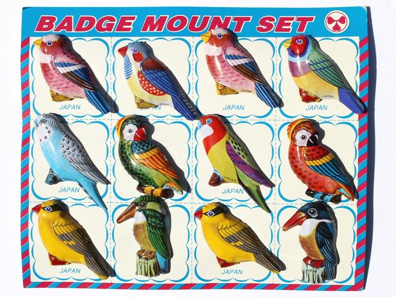 ブリキの小鳥バッジセット*昭和レトロ
