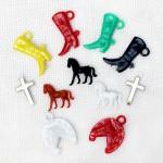 馬のパーツとブーツ・クロス・蹄鉄のプラスチックチャームセット