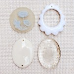 アンティークカボションパーツ ホワイト4種