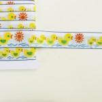 アヒルの親子と太陽 刺繍リボン アメリカアンティーク