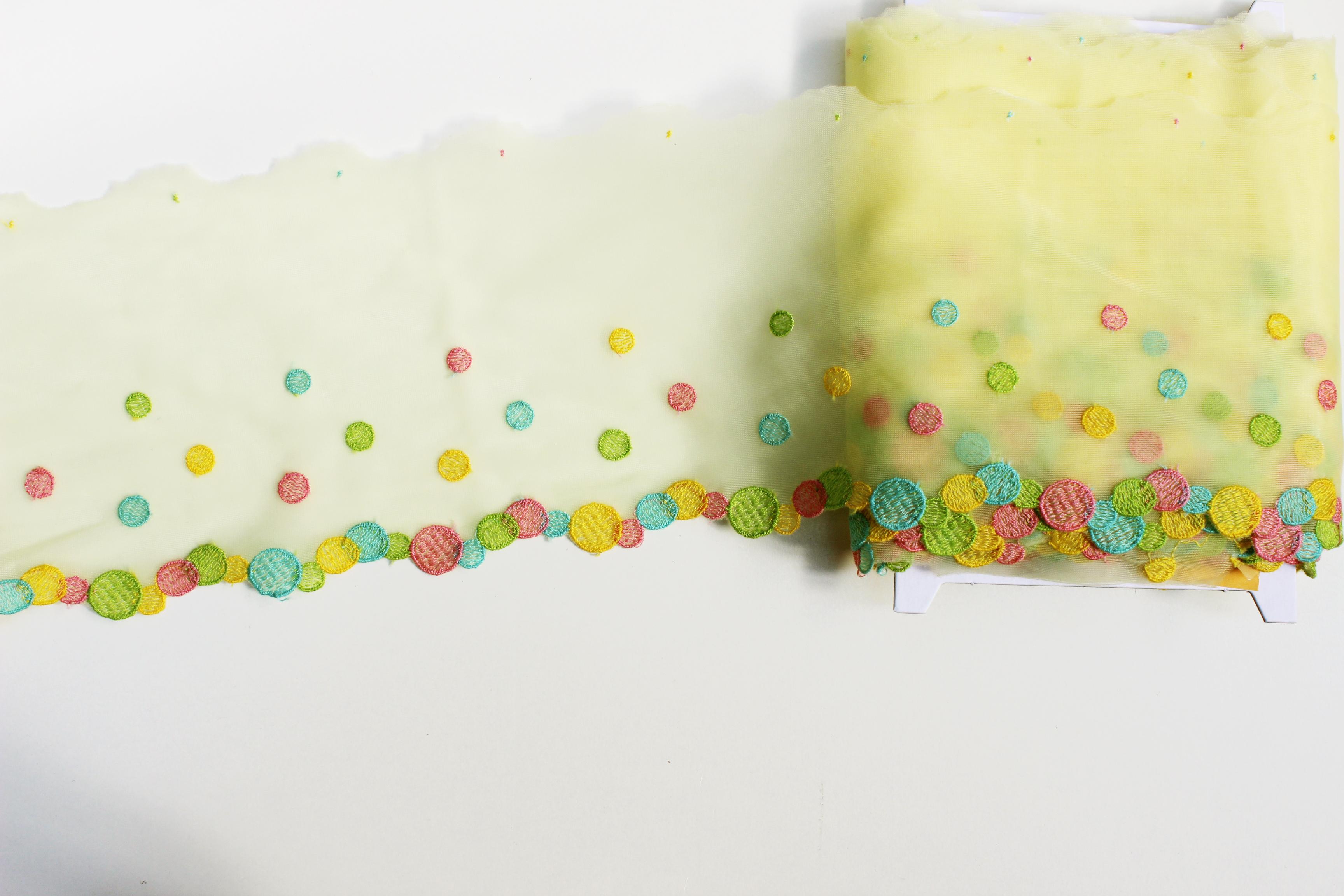 スカラップ オーガンジー 水玉刺繍 イエロー ヴィンテージDeco