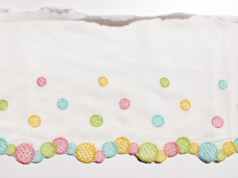 レース スカラップ コットン 水玉刺繍 アメリカアンティーク ホワイト ヴィンテージDeco