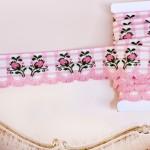 スカラップリボン ピンクつぼみの刺繍 チェック アンティーク