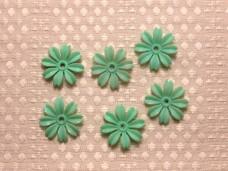 アンティークビニールのお花のパーツ エメラルドグリーン