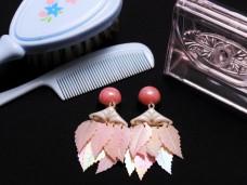 アンティークイヤリング スパンコールリーフ ピンク