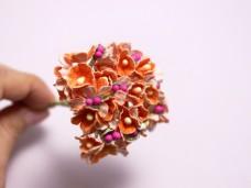 小花のブーケ 濃いオレンジの造花 ヴィンテージDeco