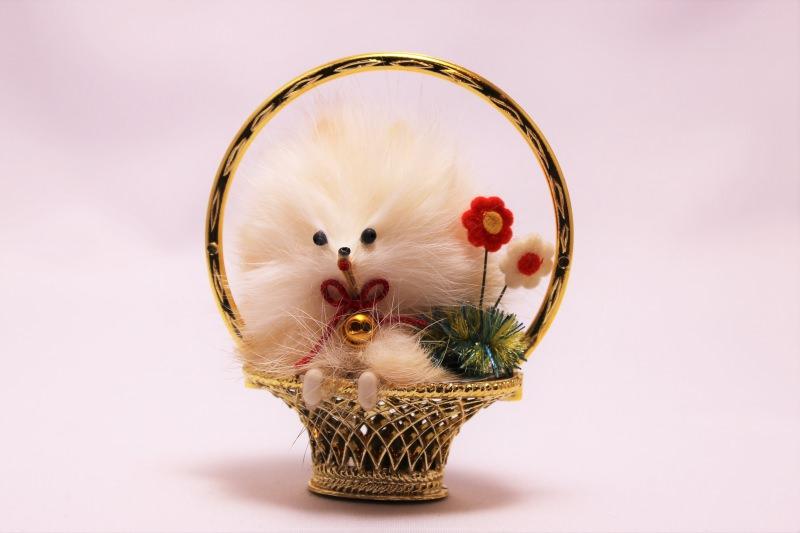 白いスピッツのモールおもちゃ 昭和レトロ