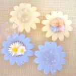 お花型のクリアケース アイボリー&ブルー*渋谷ヒカリエ