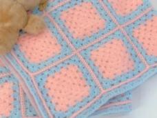 手編み ブランケット アフガン ヴィンテージ ピンク×ブルー ヴィンテージDeco